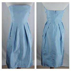 Brook Blue Silk Taffeta Lorelei Strapless Dress 4P